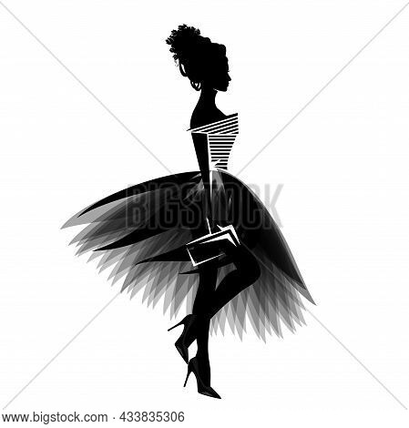 Vector Portrait Of Beautiful Glamorous Woman Wearing Stylish Clothes - Haute Couture Tulle Tutu Dres