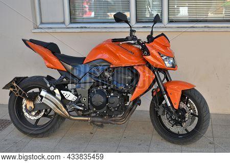 Palaiochora, July 25: Kawasaki Sport Motorcycle At Town Street On July 25, 2021 At Palaiochora, Gree