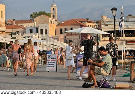 Chania, July 22: Lots Of Tourists In The Summer Season On July 22, 2021 At Chania, Crete Island, Gre