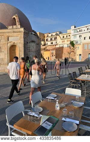 Chania, July 22: Street Restaurant During Lockdown (covid-19 Pandemic). Lots Of Tourists In The Summ