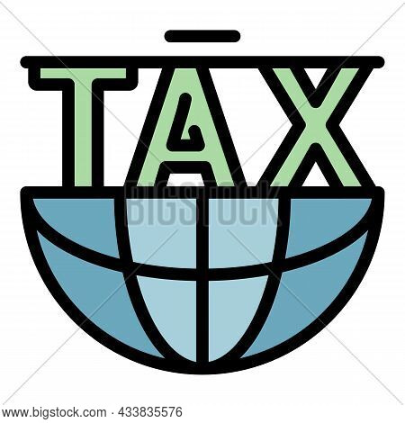 Global Tax Form Icon. Outline Global Tax Form Vector Icon Color Flat Isolated
