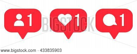 Follower Notification Icons. Comment, Like, Follow Signs. Can Use For Web And Mobile App. Vector Ill