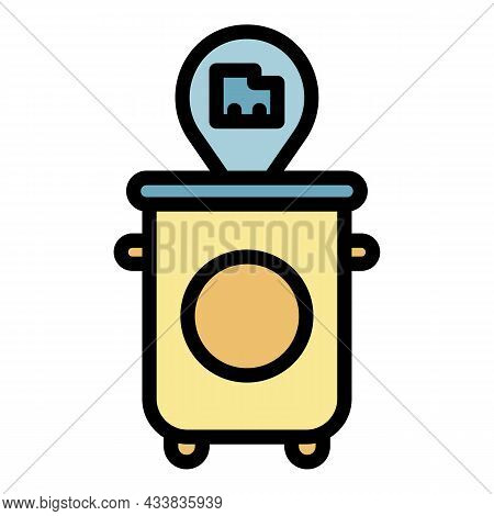 Garbage Bin Front View Icon. Outline Garbage Bin Front View Vector Icon Color Flat Isolated