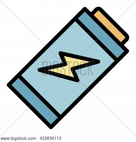 Battery Disposal Icon. Outline Battery Disposal Vector Icon Color Flat Isolated