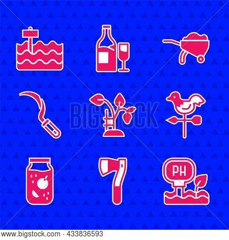 Set Strawberry Bush, Wooden Axe, Soil Ph Testing, Rooster Weather Vane, Jam Jar, Sickle, Wheelbarrow