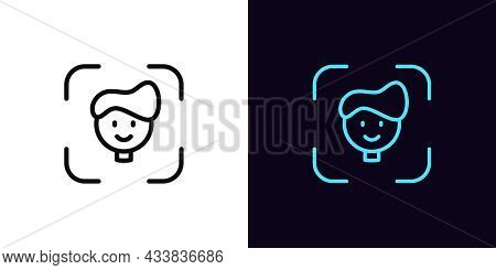 Outline Face Recognition Icon, With Editable Stroke. Facial Scanner Sign, Face Identify Pictogram. P