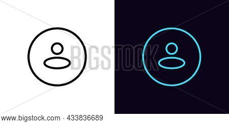 Outline User Icon, With Editable Stroke. Linear Person Sign, Round Avatar Pictogram. Anonymous User,