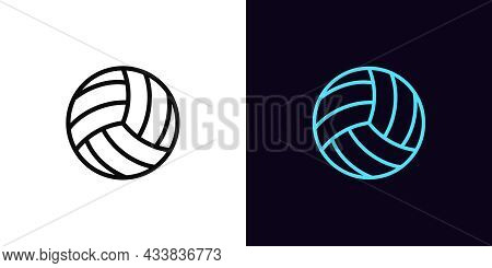 Outline Volley Ball Icon, With Editable Stroke. Linear Volleyball Sign, Ball Pictogram. Online Game,