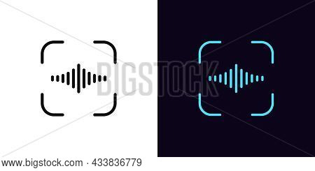 Outline Voice Identify Icon, With Editable Stroke. Linear Voice Sign, Speech Recognition Pictogram.