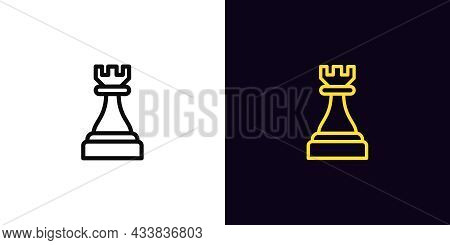 Outline Chessman Rook Icon, With Editable Stroke. Linear Rook Sign, Chess Piece, Tower Pictogram. On