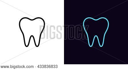 Outline Tooth Icon, With Editable Stroke. Linear Tooth Sign, Dentist Pictogram. Oral Health Care, Te