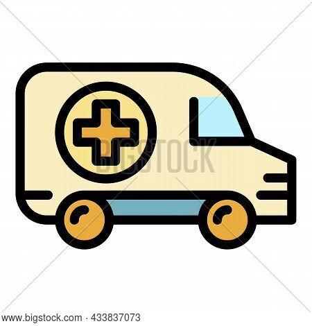 Paramedic Ambulance Icon. Outline Paramedic Ambulance Vector Icon Color Flat Isolated