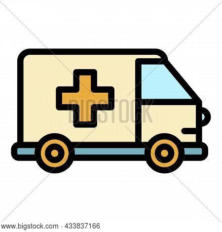 Emergency Ambulance Icon. Outline Emergency Ambulance Vector Icon Color Flat Isolated