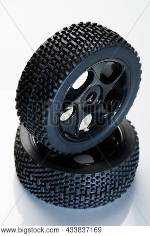 New Offroad Rc Car Tire Isolated On White Studio Background