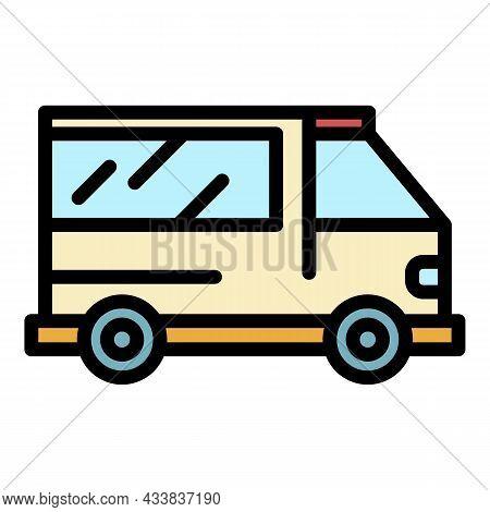 Ambulance Vehicle Icon. Outline Ambulance Vehicle Vector Icon Color Flat Isolated