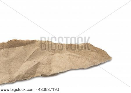 Recycled Paper Craft Stick On White Background. Blank Piece Of Ripped Paper Isolated On White Backgr