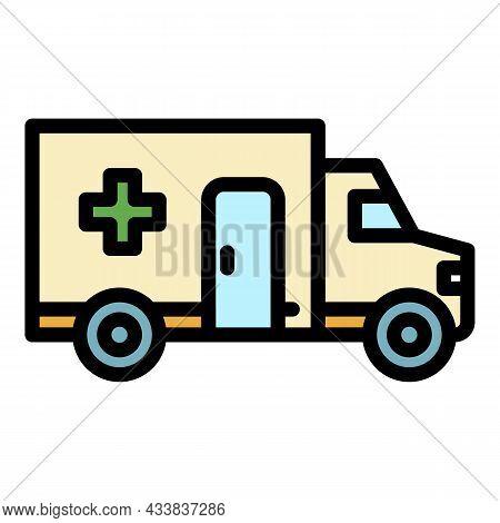 Ambulance Transportation Icon. Outline Ambulance Transportation Vector Icon Color Flat Isolated