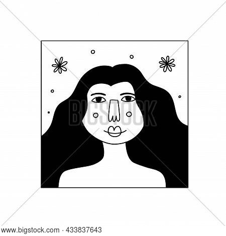 Girl Flower Line Portrait. Beautiful Pretty Female Face With Blossoms, Lady Smiling, Card Or Poster.