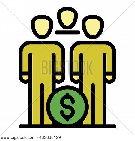 Group Money Invest Icon. Outline Group Money Invest Vector Icon Color Flat Isolated