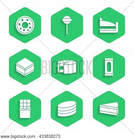Set Cake, Brownie Chocolate Cake, Piece Of, Candy, Chocolate Bar, And Donut Icon. Vector