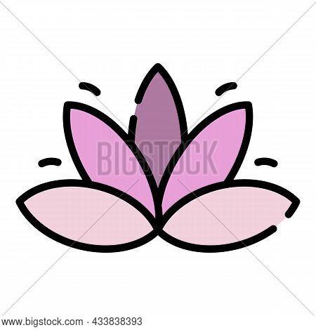 Spiritual Lotus Icon. Outline Spiritual Lotus Vector Icon Color Flat Isolated
