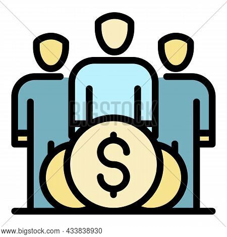 Finance People Group Icon. Outline Finance People Group Vector Icon Color Flat Isolated