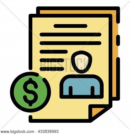 Money Contract Icon. Outline Money Contract Vector Icon Color Flat Isolated