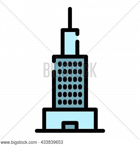 Finance Building Icon. Outline Finance Building Vector Icon Color Flat Isolated