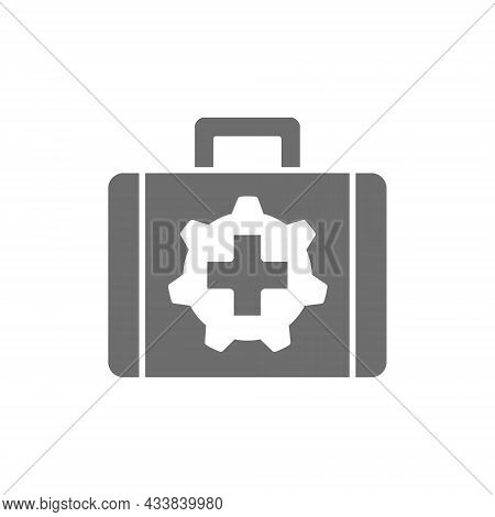 Vector Technical Assistance Suitcase Grey Icon. Isolated On White Background