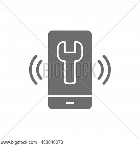 Telephone With Wrench, Helpdesk Grey Icon. Isolated On White Background