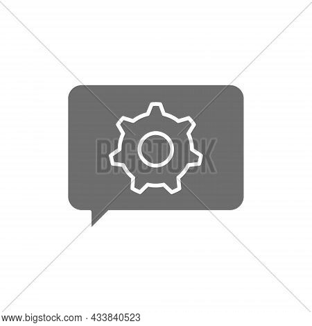 Message With Gear Wheel, Faq, Technical Assistance Grey Icon.