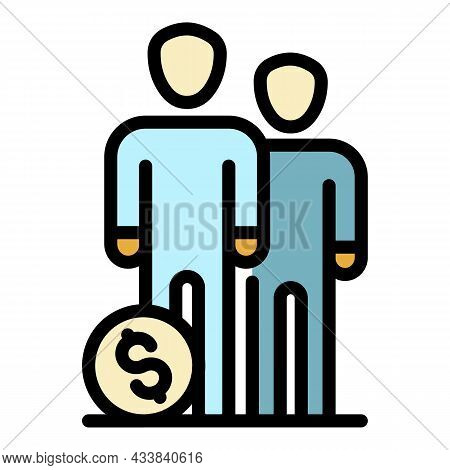 People Group Money Budget Icon. Outline People Group Money Budget Vector Icon Color Flat Isolated