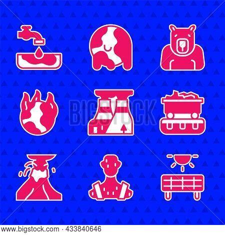 Set Nuclear Power Plant, High Human Body Temperature, Solar Energy Panel, Coal Train Wagon, Volcano