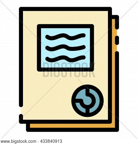 Finance Folder Icon. Outline Finance Folder Vector Icon Color Flat Isolated