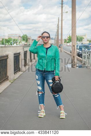 Beautiful Stylish Trendy Woman Posing In The City