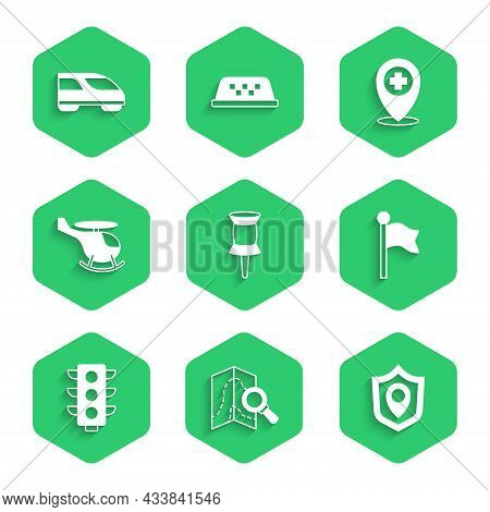 Set Push Pin, Search Location, Location Shield, Marker, Traffic Light, Helicopter, With Cross Hospit