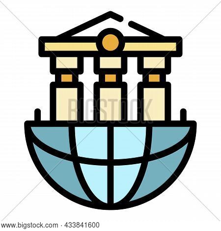 Global Bank System Icon. Outline Global Bank System Vector Icon Color Flat Isolated