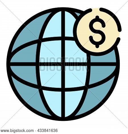 Global Dollar Money Icon. Outline Global Dollar Money Vector Icon Color Flat Isolated
