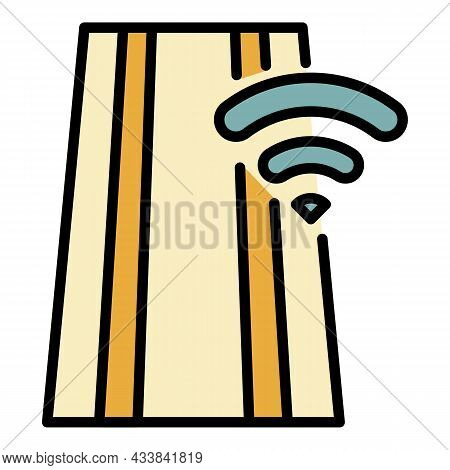 Wifi On Road Icon. Outline Wifi On Road Vector Icon Color Flat Isolated