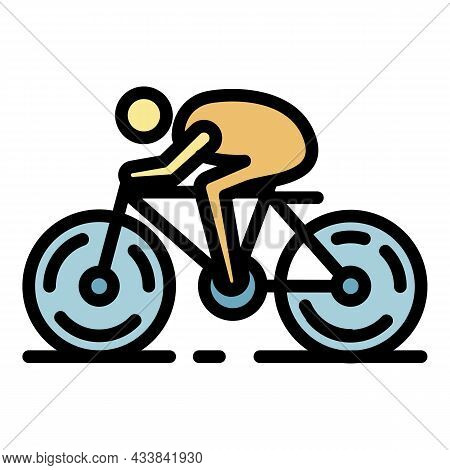 Cycling Weight Loss Icon. Outline Cycling Weight Loss Vector Icon Color Flat Isolated