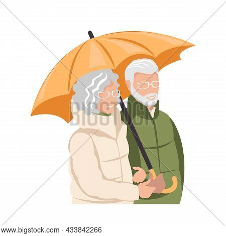 Elderly Couple. Elderly Man And Woman Are Walking With An Umbrella. Active Lifestyle. Vector Illustr