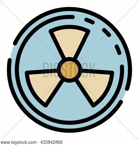 Radiation Symbol Icon. Outline Radiation Symbol Vector Icon Color Flat Isolated