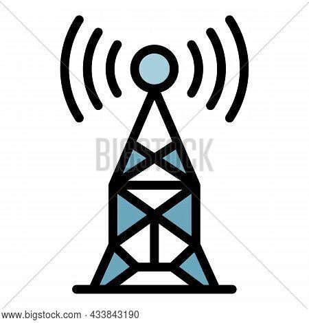 Radio Antenna Icon. Outline Radio Antenna Vector Icon Color Flat Isolated