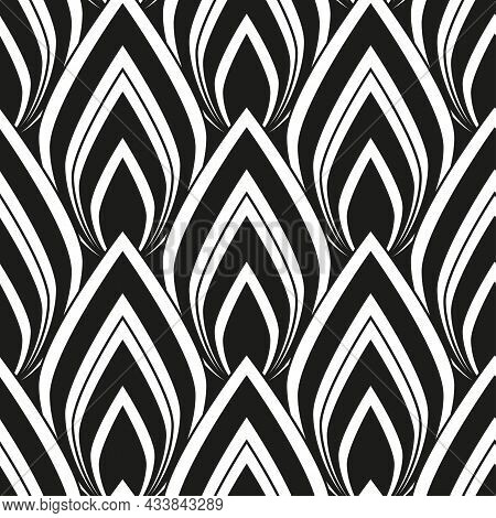 Art Deco Black And White Seamless Pattern. Vintage Abstract Geometric Design As Fashion Print, Home