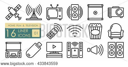 Technology For Entertainment, Home Theater Viewing And Listening To Music. Tv, Speakers, Projector,