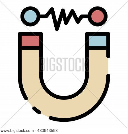 Electromagnet Icon. Outline Electromagnet Vector Icon Color Flat Isolated