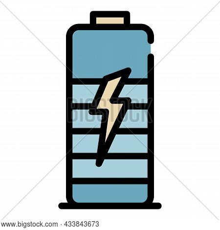 Battery With Lightning Icon. Outline Battery With Lightning Vector Icon Color Flat Isolated