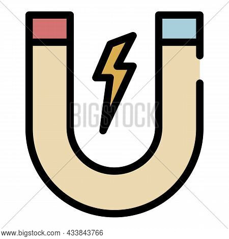 Magnet With Lightning Icon. Outline Magnet With Lightning Vector Icon Color Flat Isolated