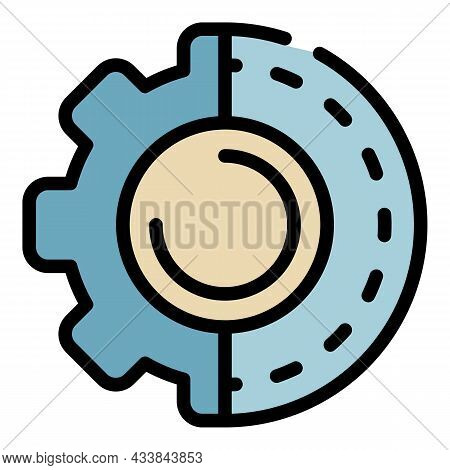 Half Closed Gear Icon. Outline Half Closed Gear Vector Icon Color Flat Isolated