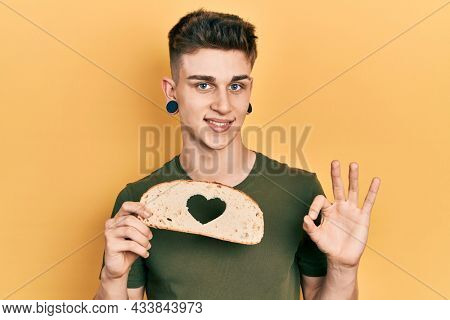 Young caucasian boy with ears dilation holding bread loaf with heart shape doing ok sign with fingers, smiling friendly gesturing excellent symbol